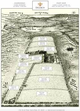 DeLoach gammelt tegnet kart der man ser Stillehavet i enden